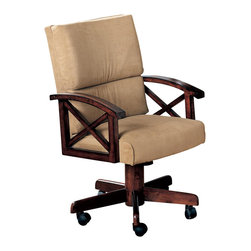 Adarn Inc - Casual Beige Marietta Upholstered Arm Game Chair With Casters - Allow for total comfort while eating a casual meal or playing a card game with this game chair. A plush cushioned seat and seat back add to inviting and relaxed character, while the oak arms feature gentle curves with an X design for charming style. Caster wheels on the feet provide easy and convenient movement. Pair with the matching game table for a complete ensemble.