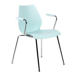 Kartell - Maui Armchair, Set of 2 - Vico Magistretti's modern chair comes with or without a tablet arm depending on your plan for it. The curve of the molded seat allows you to sit comfortably for hours whether you're hard at work in your office or enjoying a nightcap at the dining room table.