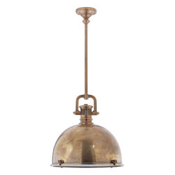 Yoke Pendant - The contrast between the delicate detail and the industrial look is what makes this one of my favorite kitchen pendants. Plus, I love lights that don't have exposed bulbs for over island seating.