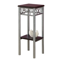 Monarch Specialties - Monarch Specialties 29 Inch Square Plant Stand in Cappuccino, Silver - With its modern cappuccino finished top, this plant stand gives a warm feel to any room. Its silver colored metal base, with a criss-cross motif, provides sturdy support as well as an elegant look. Use this multi-functional stand to place your favorite plant, and its lower shelf to display decorative pieces. It will be a sure eye catcher! What's included: End Table (1).