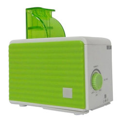 SPT Appliance - Personal Humidifier in Green and White - Cool mist (ultrasonic technology). 3 bottle adapters included . 120cc/hour humidity output. Adjustable mist. Uses water bottle instead of water tank. Water low indicator. Quiet operation. Low power consumption. UL approved AC adapter. 4.33 in. L x 2.56 in. W x 3 in. H ( 1.5 lbs. )Compact and lightweight, this personal humidifier offers portability that is perfect for travel use. Small enough to easily fit in your luggage or carry on. Three different sized bottle adapters and a 100~240V AC adapter allows universal usage. All you need to obtain at destination is a bottle of water. Also ideal for use at work, in nursery or for anyone who desires its convenience and portability. Ultrasonic technology offers cool mist and quiet operation.