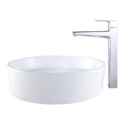 Kraus - Kraus C-KCV-140-15500BN White Round Ceramic Sink and Virtus Faucet - Add a touch of elegance to your bathroom with a ceramic sink combo from Kraus