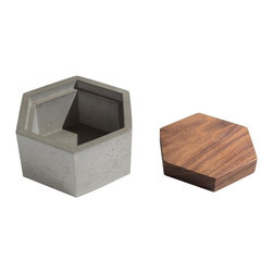 Modern Concrete And Walnut Wood Box, Gray - Work some style magic and stash jewelry or supplies with this compact concrete box. It's nearly impervious to water, and is fitted with a walnut top for chic and cozy use all over the house