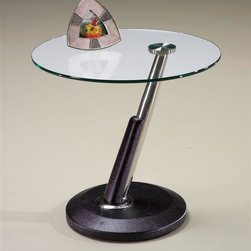 Magnussen Furniture - Round End Table - Modesto - Modesto brings a new twist to contemporary with its fused glass tops, our cocktail even swivels creating a variety of form and functions. The tubular steel posts are wrapped in synthetic black leather. 24 in. W x 24 in. D x 23 in. H