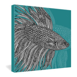 DENY Designs - Valentina Ramos Beta Fish Gallery Wrapped Canvas - A tropical fish undulates gracefully through the warm marine waters, bringing a little of that seaside serenity into your home. Valentina Ramos' ink drawing is intricately detailed, yet the monochromatic background keeps her composition simple enough to blend easily into your decor. The print is dyed onto the fibers of a frameless canvas with fade-proof ink to keep that color fresh.