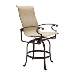 Winston Charleston Sling Swivel Bar Stool - Ideal for partying by the pool, the Winston Charleston Sling Swivel Bar Stool will keep you and your guests comfortable under the sun and the stars. Crafted from both cast and extruded aluminum, this super-durable patio bar stool is sturdy, stylish, and ready for frequent use. Full welding ensures maximum strength, while reinforced legs provide a stable base for smooth swivel action. Modern design details include sloping armrests, notched ends, and a tall, comfortably contoured backrest. Thanks in part to a powder-coated finish, the frame is designed to withstand harsh outdoor elements. Virtually maintenance-free, this cast aluminum chaise lounge will resist peeling, blistering, and oxidation for seasons to come.As for the sling seat, it's much more than just a basic sling. The woven vinyl sling fabric is mildew- and fade-resistant and allows air and water to flow through for fast drying by the pool. The sling will remain taut and sag-resistant for years. Choose from an array of sling fabric colors and styles to match your outdoor decor.This item includes White Glove Freight Delivery, which is a premium service that includes special handling and placement. Upon delivery, the service agent will place and unpack your product in the room of your choice (up to two flights of stairs). Removal of packaging material is also included with this service.About Winston Furniture CompanyStarted in 1975, Winston Furniture Company manufactured simple aluminum furniture with virgin vinyl straps. As the popularity of casual furniture increased and consumers craved comfort, Winston answered the call by being the first company to introduce cushioned, mildew-resistant fabrics for outdoor use. In 1982, Winston was once again at the forefront by adding stylish, easy-to-maintain sling furniture to its product line.Today, the Winston Furniture line is comprised of cushion and sling furniture with a host of styles. A variety of powder-coated paint finishes and sling colors, along with over a hundred fabric selections allow you to create just the look you need. All Winston Furniture product materials are proudly sourced in the U.S.A. Welding is completed in a state-of-the-art manufacturing facility in Juarez, Mexico. Products are shipped to El Paso, Texas for finishing and final inspection before being shipped to your door.Winston Furniture Company, Inc. has earned several design and service awards from retailers over the past 25 years. The most notable of these honors is the National Association of Casual Furniture Retailers'; (NACFR) Casual Furniture Manufacturer Leadership Award. Since the awards' inception in 1990, Winston is a four-time recipient as well as a finalist every year.