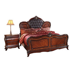 """Acme - 5-Piece Dorothea Collection Cherry Finish Wood and Dark Brown Bedroom Set - 5-Piece Dorothea collection cherry finish wood and dark brown tufted padded headboard and footboard queen bedroom set. This set includes the queen bed with tufted headboard and footboard, nightstand with marble top inlay, dresser with marble top inlay, mirror and chest. Queen bed measures 72"""" H to the top of the headboard. Nightstand measures 30"""" x 18"""" x 31"""" H. Dresser measures 70"""" x 20"""" x 40"""" H. Mirror measures 49"""" x 45"""". Chest measures 44"""" x 20"""" x 56"""" H. Some assembly required."""