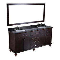 Bosconi - 73'' Bosconi SB-261 Vanity Set - Couples consoling. This extra wide bath console allows each of you to have your own personal space, all within a single expansive countertop and grandly proportioned mirror. And, should you still need room to grow, there are a multitude of drawers and cabinet spaces for your increasing bath essentials.