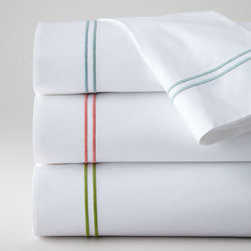 """SFERRA - SFERRA Twin Solid White Fitted Sheet - A sharp and modern bedding ensemble just right for any room. Sferra takes smooth white Egyptian cotton percale and adds a 2"""" wide Egyptian cotton sateen band in your choice of colors. Duvet covers have the band on three sides; shams have the band on a..."""