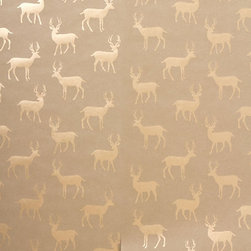 Metallic Stag Wallpaper - This is really beautiful wallpaper, although I'm not sure I'd want to leave it hanging year-round. It would be great to use for a change during the winter though.