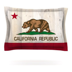 "Kess InHouse - Bruce Stanfield ""California Flag Wood"" Brown Pillow Sham (Cotton, 40"" x 20"") - Pairing your already chic duvet cover with playful pillow shams is the perfect way to tie your bedroom together. There are endless possibilities to feed your artistic palette with these imaginative pillow shams. It will looks so elegant you won't want ruin the masterpiece you have created when you go to bed. Not only are these pillow shams nice to look at they are also made from a high quality cotton blend. They are so soft that they will elevate your sleep up to level that is beyond Cloud 9. We always print our goods with the highest quality printing process in order to maintain the integrity of the art that you are adeptly displaying. This means that you won't have to worry about your art fading or your sham loosing it's freshness."