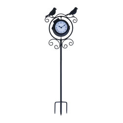 Benzara - Sophisticated Metal Clock Thermometer with Birds on Top - This Metal Clock Thermometer is an ideal choice for hanging on a base wall that sports a soft and subtle hue as it an ideal rendition to interpret a personal taste and style in art. This beautiful clock mirrors a contemporary view and way of life perfectly. Finished in an elegant black, this eye catching clock thermometer showcases a ring at the top that highlights a crowing rooster. With four legs, this clock is self-supported and does not need a pedestal. It features a minimalist design that can blend in with simple furnishings. It has a dial that sports a pale yellow hue, giving it a rustic look. Sophisticated and classy in appearance, this clock thermometer originates from China and can add a tasteful touch to settings no matter where you put it. It comes with a dimension of 30 in.  H x 9 in.  W x 4 in.  D.