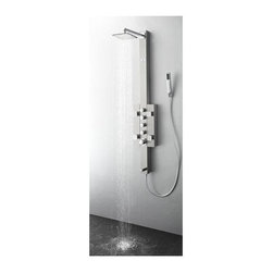Fresca - Lecco Thermostatic Shower Massager - 4 Brass Square Massage Jets. 7 in. Brass Top Shower Head. 16 in. Brass Shower Arm. Brass Handheld Shower and Tub Spout. Double Interlocked Durable Hose. Product Material: Stainless Steel, Brass. Finish: Stainless Steel (Brushed Silver). cUPC Certified Thermostatic Valve. 59 in. H x 9.5 in. W x 18 in. DA shower panel can really take your morning cleaning routine to the next level. Instead of just a basic shower head you get four different water outputs: a large shower head that creates a rainfall effect, a handheld showerhead for mobility and hard to reach places, 4 swiveling massage water jets and a tub filling water spout on the bottom. The panel has four knobs that control each function, and a master knob that controls water pressure and temperature. The fixtures are all made from brass with a chrome finish, and the unit is made from stainless steel.