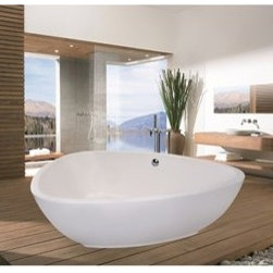 """Aquatica - Aquatica PureScape 400 Freestanding Acrylic Bathtub - White - Treat yourself and soak in peaceful tranquility with Aquatica's stylish and ergonomic PureScape 400 freestanding bathtub. Aquatica challenges everything we thought we knew about a bathtub with the world-class modern design and ergonomic features that are incorporated into all of their luxury tubs. Aquatica Purescape bathtubs are as pleasing to the eye as they are to soak in. Their striking visual appeal adds a mesmerizing modern elegance to any bathroom. From the finest selection of raw materials all the way to the high-class design, Aquatica has spared no expense to innovate and create some of the highest quality bathtubs in the world.Aquatica's bathtubs offer modern glamour at affordable prices. The Aquatica line is diverse enough to encompass both bathtubs with classical elegance that match the style of your bath and bathtub models that are distinctive and unique as the centerpiece of your remodel.FeaturesStriking upscale modern designFreestanding constructionSolid, one-piece construction for safety and durabilityExtra deep, full-body soakErgonomic design forms to the body's shape for ultimate comfortQuick and easy installationConstructed of 8mm thick 100% heavy gauge sanitary grade precision acrylicPremium acrylic and tub thickness provides for excellent heat retentionHigh gloss white surfaceColor is consistent throughout its thickness - not painted onColor will not fade or lose its brilliance overtimePreinstalled cable drive pop up and waste-overflow fitting includedDesigned for one or two person bathingNon-porous surface for easy cleaning and sanitizingBuilt-in metal base frame and adjustable height metal legsChrome plated drain5 Year Limited WarrantyCode compliant with American standard 1.5"""" waste outletsSpecificationsOverall Dimensions: 73.75 in. L X 59 in. W X 22 in. HDepth to Overflow Drain: See Spec SheetInterior Depth: 18.5 in.Interior Length (Top): 68.75 in.Interior Width (Top): 54"""