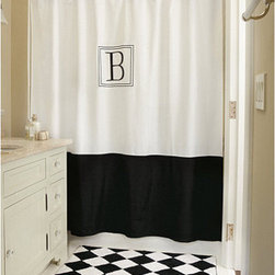 Ballard Designs - Monogrammed Classic Shower Curtain - Give your bath the feel of a luxury hotel suite with our Classic Monogrammed Shower Curtain. Sewn in crisp white, 230-thread count cotton and embroidered in your choice of single letter initial surrounded by a double frame. Dry clean. Made in the USA.