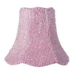 Jubilee Collection - Chandelier Shade - Glass Bead on Fabric - Pink - Material: silk, metal. 2x 5 x 4 in.