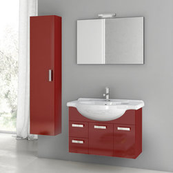 ACF - 32 Inch Glossy Red Bathroom Vanity Set - Set Includes:. Vanity Cabinet (2 Doors,2 Drawers). High-end fitted ceramic sink. Wall mounted vanity mirror. Tall storage cabinet. Vanity Set Features . Vanity cabinet made of engineered wood. Cabinet features waterproof panels. Vanity cabinet in glossy red finish. Cabinet features 2 doors, 2 soft-closing drawers. Faucet not included. Perfect for modern bathrooms. Made and designed in Italy. Includes manufacturer 5 year warranty.
