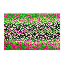 DiaNoche Designs - Area Rug by Julia Di Sano - Leopard Trail Pink Green - Finish off your bedroom or living space with a woven Area Rug with Chevron pattern  from DiaNoche Designs. The last true accent in your home decor that really ties the room together. Maybe its a subtle rug for your entry way, or a conversation piece in your living area, your floor art will continue to dazzle for many years. 1/4 thick. Each rug is machine loomed, washed and pre-shrunk, printed, then hemmed on the edges.   Spot treat with warm water or professionally clean. Dye Sublimation printing adheres the ink to the material for long life and durability