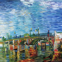 "overstockArt.com - Van Gogh - The Seine Bridge at Asnieres - 8"" X 10"" Oil Painting On Canvas Hand painted oil reproduction of one of the most famous Van Gogh paintings, The Seine Bridge at Asnieres. The original masterpiece was created in 1887. Today it has been carefully recreated detail-by-detail, color-by-color to near perfection. Why settle for a print when you can add sophistication to your rooms with a beautiful fine gallery reproduction oil painting? Vincent Van Gogh's restless spirit and depressive mental state fired his artistic work with great joy and, sadly, equally great despair. Known as a prolific Post-Impressionist, he produced many paintings that were heavily biographical. This work of art has the same emotions and beauty as the original by Van Gogh. Why not grace your home with this reproduced masterpiece? It is sure to bring many admirers!"