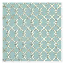 Aqua Classic Trellis Cotton Sateen Fabric - Small classic cream trellis on flooded aqua cotton sateen.Recover your chair. Upholster a wall. Create a framed piece of art. Sew your own home accent. Whatever your decorating project, Loom's gorgeous, designer fabrics by the yard are up to the challenge!