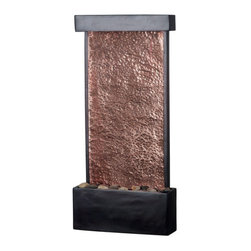 Kenroy Home - Kenroy Home 50002ORB Falling Water Lighted Wall-Style Table Fountain, Includes C - Falling Water Lighted Wall-Style Table Fountain, Includes Cord CoverWith a lovely Copper panel for water to skim along, this thin fountain saves space while still catching the eye.