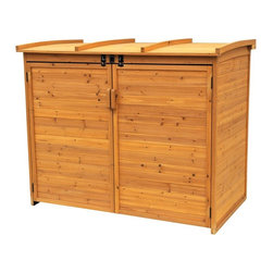 Leisure Season - Leisure Season Large Horizontal Refuse Storage Shed Multicolor - RSS2001L - Shop for Sheds and Storage from Hayneedle.com! The Leisure Season Large Horizontal Refuse Storage Shed features lockable doors and lid to banish critters and keep all of your household waste containers tidy and out of sight. With plenty of space to hold trash recycling and compost this handsomely finished waste organizer is made of fir. Like cedar fir is in the cypress family and boasts superior resistance to decay. You'll appreciate the tongue and groove construction and hardware that's tough enough for the outdoors. Further reinforcement comes from the corner braces that enhance structural integrity. Leisure Season knows you'll most likely have only one free hand when approaching this shed to make a deposit so they've designed the lid for easy one-handed operation with a pneumatic mechanism to keep the lid up for you. Floorless design makes it easy to roll bins in and out. It's finished with a medium brown stain and protective finish coat to resist all types of weather. Designed for all-season use the curved lid sheds snow and ice to prevent accumulation.About Leisure Season Leisure Season Ltd. is a premier manufacturer specializing in unique home and garden products. With more than 30 years of industry experience they have established a high standard of workmanship at affordable prices. This is accomplished with smart design that you can depend on creating attractive multifunctional pieces that will last. Quality design begins of course with quality materials. Part of the Cypress family the China fir that is used to make Leisure Season's outdoor furniture outdoor leisure products and outdoor storage is noted for its rich grain texture and color as well as for its natural resistance to decay and insects. So whether your outdoor furnishings tend toward the rustic the traditional or the postmodern these versatile pieces will reflect your good taste and will complement the lo