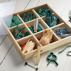 Gardening Accessories Wooden Box Kit - I love this little caddy filled with  gardening accessories like ties, clips, raffia, plant markers, etc. It's chock full of those miscellaneous gardening items you might not think you need until you need them. This would make a great gift too!