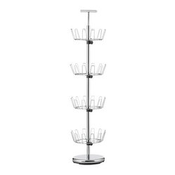 4-Tier Chrome Shoe Rack - Carousel-style shoe rack stores and spins up to 24 pairs, with height ...