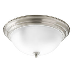 Progress Lighting - Progress Lighting P3926-09Et Three-Light Close-To-Ceiling Etched Glass Bowl - Three-light flush mount with dome shaped glass, solid trim and decorative knobs.