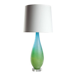 Loving Lighting - Large Azur Table Lamp with White Shade - Crisp blue and green melds into turquoise in this art-piece lamp, bringing a touch of vibrant spring into your home.  A solid table lamp with lofty heights, this accent piece is sure to make a statement.  It is paired with a white shade with a narrow self trim and finished with a nickel finial.