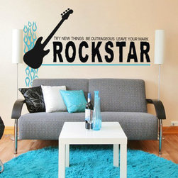 """Alphabet Gardens - Rock Star-Leave Your Mark Wall Decal - Whether you have a budding star or just an adoring fan in your house, inspire them with this """"leave your mark"""" rock star message accented by flames and a guitar. Easy to apply and remove without damaging the surface, this wall decal is a fast simple way to lend artful color and dimension to your decor. Unlike other vinyl and stickers, this wall transfer is crafted from the highest quality thin vinyl in a matte finish to create a hand painted look. Use the pre-spaced design or let your imagination be the guide, as you can position and overlap individual parts of this design to create your own look. The one application transfer can be placed indoors or outdoors on a on wall, mirror, window or other smooth space. Made in the USA toxin-free. Color choice 1: text and guitar (pictured black). Color choice 2: flame graphics (pictured turquoise blue). Shown 38""""H, available in several sizes as measured from top to bottom of entire designWe recommend adding a proof so you can see and approve a JPG image of your personalized design in the colors you have chosen before it is cut. Personalized decals are created by Alphabet Garden Designs."""