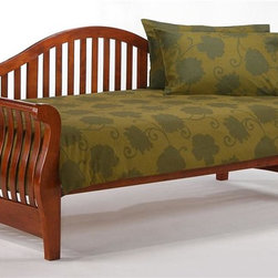 Night & Day Furniture - Wood Daybed in Cherry Finish w Slatted Back - 100% Malaysian Rubberwood construction. Cherry Finish. Bed includes Arm Set, Back Panel, Rails and Slats. Arm Set: 32 in. W x 42 in. D x 9 in. H. Back Panel: 22 in. W x 89 in. D x 2 in. H. Rails and Slats: 9 in. W x 78 in. D x 5 in. H. Overall Daybed Dimensions: 76 in. W x 39 1/4 in. D x 38 3/8 in. H. Trundle Dimensions: 75 in. W x 40 3/8 in. D x 13 5/8 in. HOur Daybed Collection is like an album of our Greatest Hits. Taking inspiration from our other great Collections we are pleased to offer you this stunning Daybed Super Group!Our Nightfall Daybed, for style, comfort and utility, is unsurpassed. Put up a friend for the night or pile on the family for movie-time; the Nightfall Daybed is sitting pretty and always ready. Our Daybed Collection is an all wood collection, from the arms & back panel to the bed platform. Built with the finest materials and constructed strong & smart, our Nightfall Daybed is a piece of furniture that will endure for years to come. All Daybed Collection items come with a limited 10 year warranty.