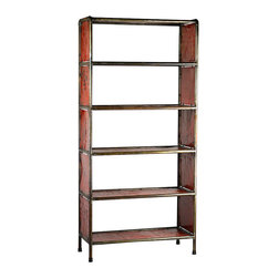 Habitat Home & Garden - Metal Bookcase (Two Colors), Cherry Red - The Metal Bookcase is made using reclaimed metal. Available in Cherry Red or Lemon Yellow, this piece will add a pop of color to your home or office.