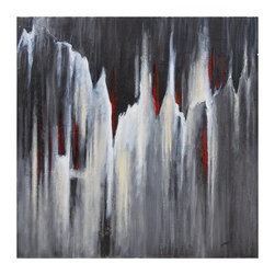 """Ren-Wil - Thunderstorm Canvas Wall Art - This bold hand painted abstract features a monochrome coloration and heavy textures.; Artist: Braski; Format: Square; Hanging Hardware Included; Weight: 12 lbs; Dimensions: 40""""L x 40""""H"""