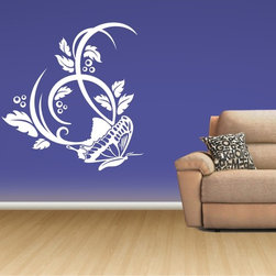 StickONmania - Floral Butterfly Decor Sticker - A popular floral buttefly design for your wall. Decorate your home with original vinyl decals made to order in our shop located in the USA. We only use the best equipment and materials to guarantee the everlasting quality of each vinyl sticker. Our original wall art design stickers are easy to apply on most flat surfaces, including slightly textured walls, windows, mirrors, or any smooth surface. Some wall decals may come in multiple pieces due to the size of the design, different sizes of most of our vinyl stickers are available, please message us for a quote. Interior wall decor stickers come with a MATTE finish that is easier to remove from painted surfaces but Exterior stickers for cars,  bathrooms and refrigerators come with a stickier GLOSSY finish that can also be used for exterior purposes. We DO NOT recommend using glossy finish stickers on walls. All of our Vinyl wall decals are removable but not re-positionable, simply peel and stick, no glue or chemicals needed. Our decals always come with instructions and if you order from Houzz we will always add a small thank you gift.