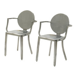 InnerSpace Luxury Products - InnerSpace Brushed Stainless Steel Round Back Dining Height Chair - Set of Two - The InnerSpace Indoor Chair Collection features a contemporary design with durable, stainless steel construction.  The luxurious, 18-inch dining height chairs (L20 x W22.5 x H32.5) are an optimum fit for casual and upscale environments alike.  Add an ultramodern touch to dining, entertainment, and living areas with the circular back rest and brushed finish (also available in a polished finish).  Protective foot glides protect flooring from mars and scratches.  One Year Limited Manufacturer Warranty.  Also available for single piece orders.
