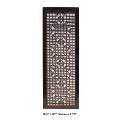 Chinese Wood Screen Panel with Geometric Floral Design - This is a simple decorative room divider panel with brown color stain finish with natural wood pattern. The center theme is clean geometric minor floral square formation see through open design.