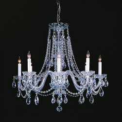Crystorama Lighting Group - Traditional Crystal Swarovski Strass Crystal Polished Chrome Eight-Light Chandel - Traditional crystal chandeliers are classic timeless and elegant. Crystorama's opulent glass arm chandeliers are nothing short of spectacular. This collection is offered in a variety of crystal grades to fit any budget. For a touch of class order this collection in Gold for traditionalists or in Chrome to match your contemporary or transitional decor.  -Primary Material: Steel  -Crystal: Swarovski Strass  -Chain or Rod Length: 36inches  -Wire Length: 72inches Crystorama Lighting Group - 1138-CH-CL-S