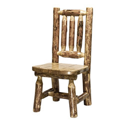 """Montana Woodworks - Montana Woodworks Child's Chair in Glacier Country - Give your child the gift of a lifetime. He or she is sure to pass this extraordinary little chair onto other generations, creating a treasured family heirloom. This durable and desirable chair is handcrafted using solid, American grown wood. Finished in the """"Glacier Country"""" collection style for a truly unique, one-of-a-kind look reminiscent of the Grand Lodges of the Rockies, circa 1900. First we remove the outer bark while leaving the inner, cambium layer intact for texture and contrast. Then the finish is completed in an eight step, professional spraying process that applies stain and lacquer for a beautiful, long lasting finish. Comes fully assembled. 20-year limited warranty included at no additional charge."""