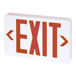 Elco - Elco EELE3 Single or Double Face Configurable LED Exit Sign with Red Letters and - Elco EELE3 Single or Double Face Configurable LED Exit Sign with Red Letters and Dual Circuits for Generator UseElco Lighting�s high quality, affordable Exit and Emergency fixtures provide a variety of different styles and benefits designed to meet the requirements of any application. Dual voltage options (120 and 277 VAC), brown-out activation (unit automatically switches to emergency mode if supply voltage drops below 80%), automatic low-voltage disconnect, thermal protection, short circuit protection and reverse polarity protection are just a few of the important standardized features of these products.Features: