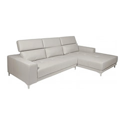 White Line Imports - Michelle Gray Leather Sectional Sofa with Right Chaise - Features: