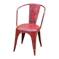 "Four Hands - Rockwell Bistro Arm Chair, Dark Red - For your casual dining setting, think seating with ""upcycle"" style. This chair, made of old iron found in defunct factories, has been transformed for a new-old look that's as comfortable as it is quirky."