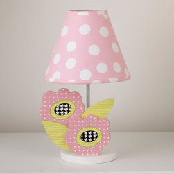 Cotton Tale Designs - Poppy Decorator Lamp - Part of the Poppy collection, this adorable decorator lamp has two wood cut poppies, three dimensional with big dot pink shade. It stands 15 inches tall. Lampshade measures 8x9x4. Spot clean only. Manufacturer recommends max 40 watt bulb.