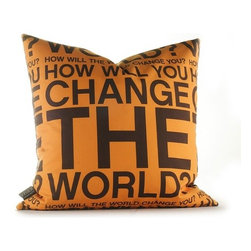 """Inhabit - Change the World Pillow in Orange and Chocolate - Features: -Made from 100% sustainable recycled polyester. -Handprinted and handmade in the USA. -Environmentally-friendly inks with no chemical waste or disposal generated. -Recyclable at the end of its life-cycle. -Zipper closure for easy removal and cleaning. -Pillow inserts are 95% feather / 5% down. Specifications: -Material: 100% sustainable recycled polyester . -Available sizes:. -18"""" W x 18"""" L. -13"""" W x 24"""" L."""