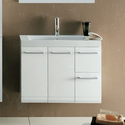 Iotti - 2 Doors, 2 Drawer Vanity Cabinet with Self Rimming Sink - The decisive lines blend with the warm colors of woods in an ideal balance of good looks and functionality. The elongated metal handles emphasizes the minimalist taste of the Linear series. Made in Italy. High end ceramic sink made in Italy. Faucet not included. All drawers feature soft-close runners. The engineered wood vanity is made with waterproof panels. Single vanity features 2 doors, 2 Drawer. Top of the vanity comes in a white finish.