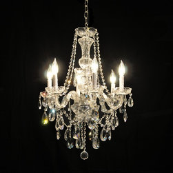 Victorian Glass Arm Swarovski Crystal Chandelier in Chrome or Gold - Welcome to the Victorian Collection, where details are a must & traditional elegance is key. This beautiful glass-arm collection is patterned after classic designs from the Victorian era. This gorgeous chandelier features gracefully contoured glass arms & a detailed-rich glass center column and bobeches. Clear European or Swarovski Crystals adorn your choice of a gleaming chrome or gold finished frame, providing brilliant light effects and tons of sparkle. This delicately beautiful crystal chandelier collection is perfect for that dramatic, and romantic, touch to your decor.
