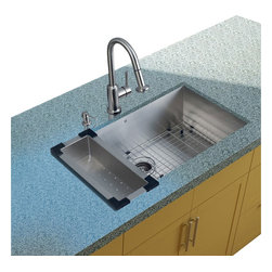 Vigo Industries - Platinum Stainless Steel Kitchen Sink with Colander and Grid - Includes stainless steel kitchen sink, stainless steel kitchen faucet, matching colander, matching grid, strainer and stainless steel soap dispenser and all mounting hardware