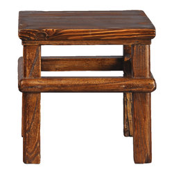 Antique Revival - Natural Vintage Kantai Stool - This sturdy vintage childen's stool is square and stands on four legs with a connecting wooden band adding an interesting detail around the middle. The natural wood allows it to blend easily with any existing decor. It can help children easily reach books on a shelf, or help them be tall enough to independently brush their teeth in the bathroom.