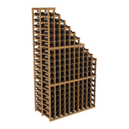 Double Deep Wine Cellar Waterfall Display Kit in Pine with Oak Stain - The same beautiful cascading waterfall but in a double deep capacity. Displays 18 choice vintages in a tiered fashion. Designed within our modular specifications and to Wine Racks America's superior product standards, you'll be satisfied. We guarantee it.
