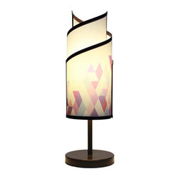 itsara koncepts - KLADIS: Interchangeable shades in seconds, Purple Sunset, Printed Designs - Decorative table lamp with magnetic interchangeable shades. Change shades in seconds with any from our growing collection. Now you can finally change your decor for different occasions whenever you want.